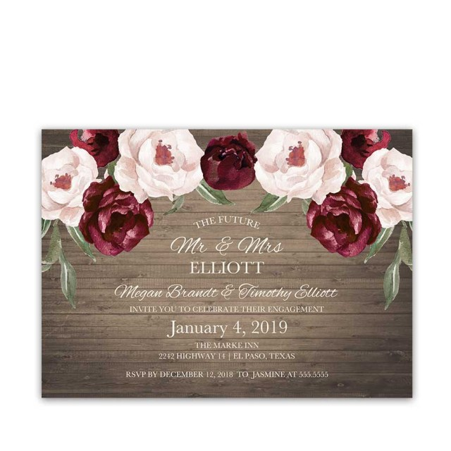 Burgundy Wedding Invitations Floral Engagement Party Invitations Burgundy Fall Wedding