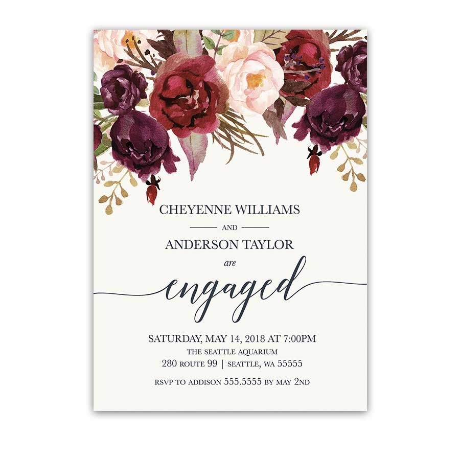 Burgundy Wedding Invitations Floral Engagement Party Invitations Burgundy Wine Wedding