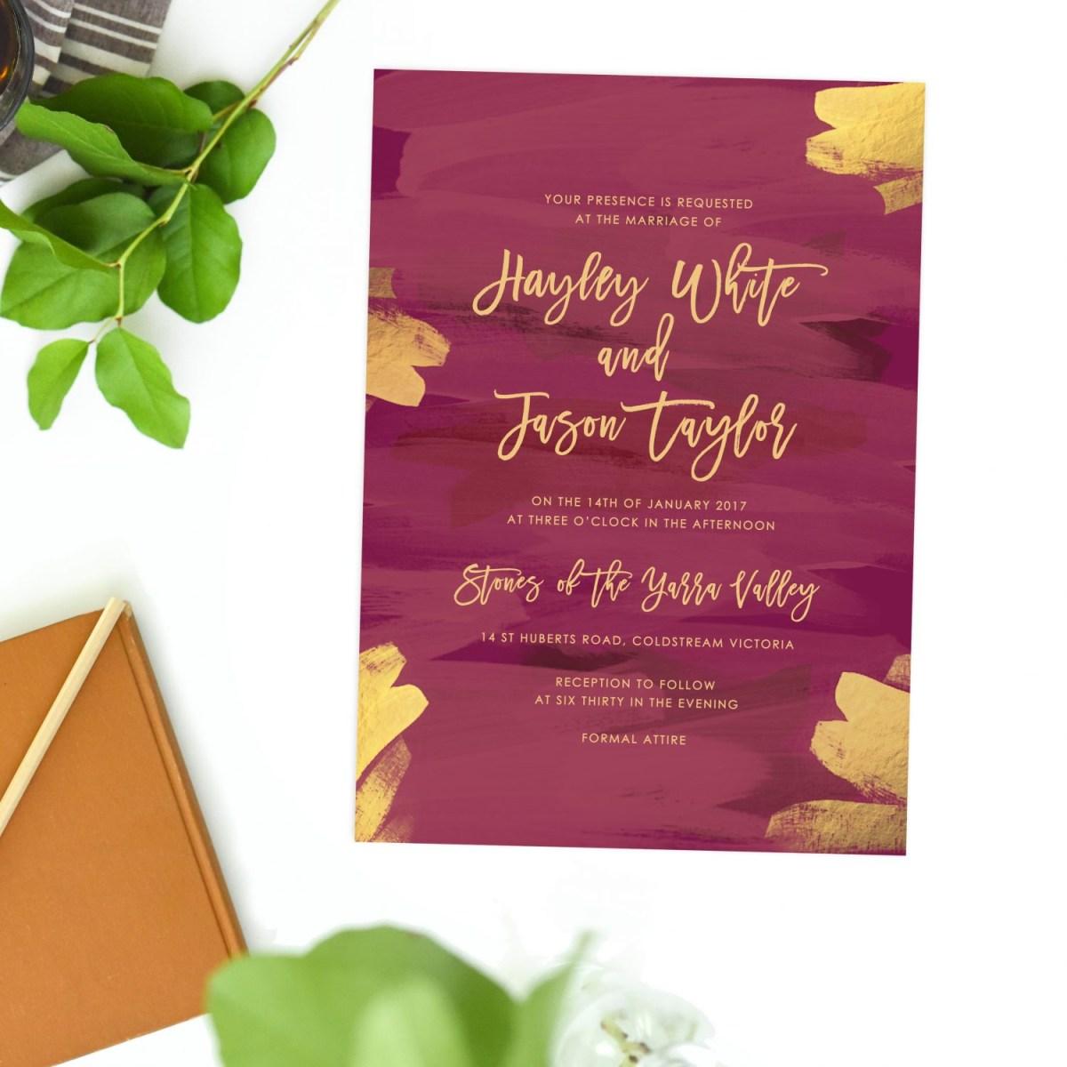 Burgundy Wedding Invitations Plum And Gold Burgundy Wedding Invitations