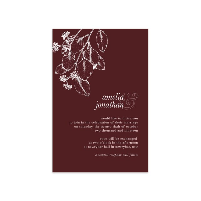 Burgundy Wedding Invitations Vintage Eucalyptus Suite More Colours Ficus And Fig Design