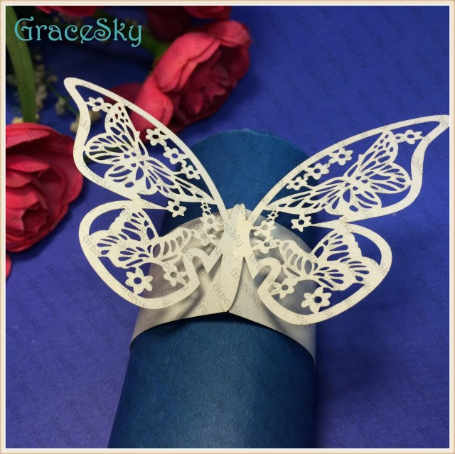 Butterfly Wedding Decorations For Tables 2019 Free Shippingtowel Buckle Laser Cutting Butterfly Paper Wedding