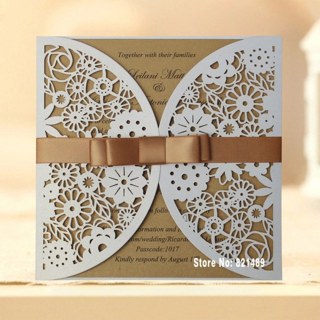 Cheap Laser Cut Wedding Invitations Elegant White And Gold Wedding Color Ideas And Laser Cut Wedding