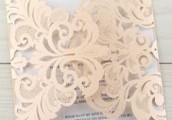 Cheap Laser Cut Wedding Invitations Laser Cut Iris With Script Font Blush Pure Invitation Wedding