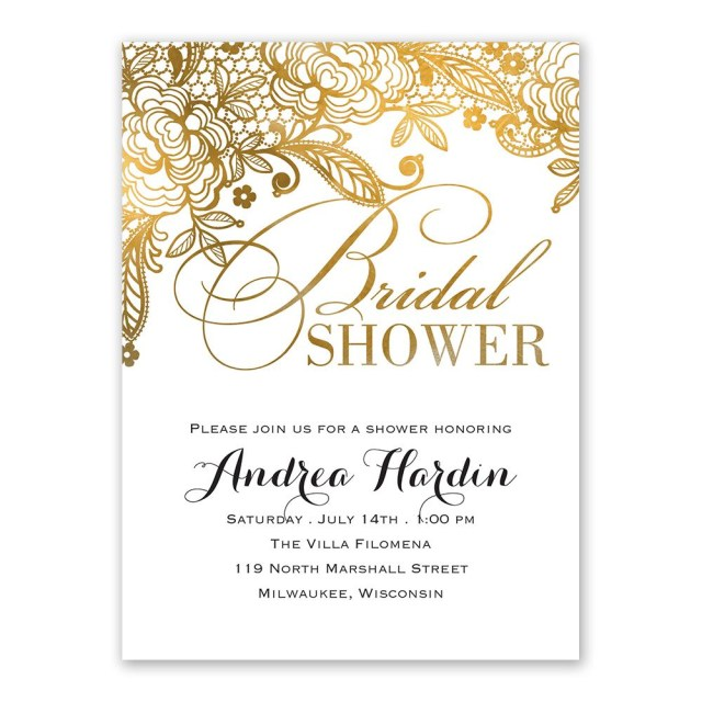 Cheap Wedding Shower Invitations Gold Lace Bridal Shower Invitation Anns Bridal Bargains
