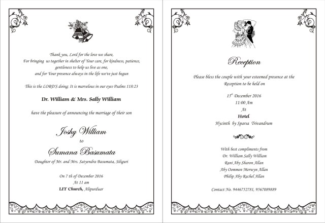 Christian Wedding Invitations Christian Wedding Card Template 1