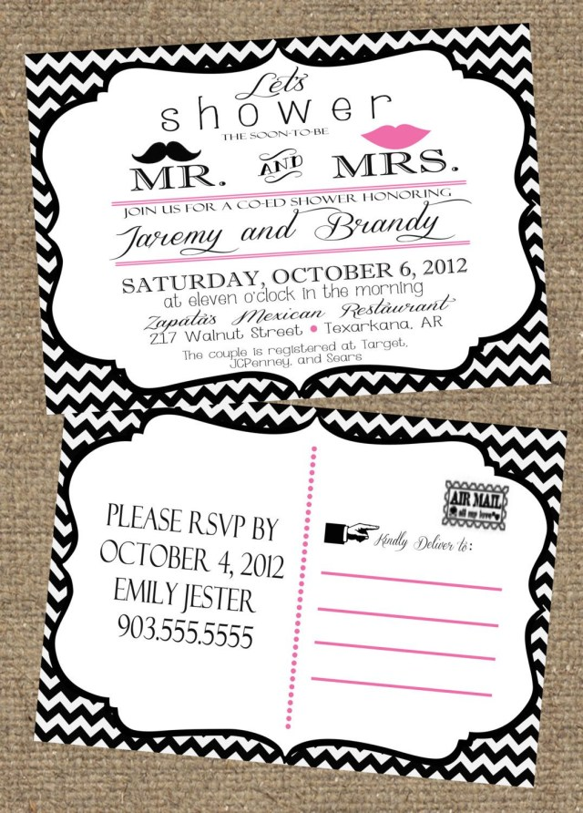 Coed Wedding Shower Invitations 5x7 Couples Wedding Shower Invitation Postcard 1500 Via Etsy