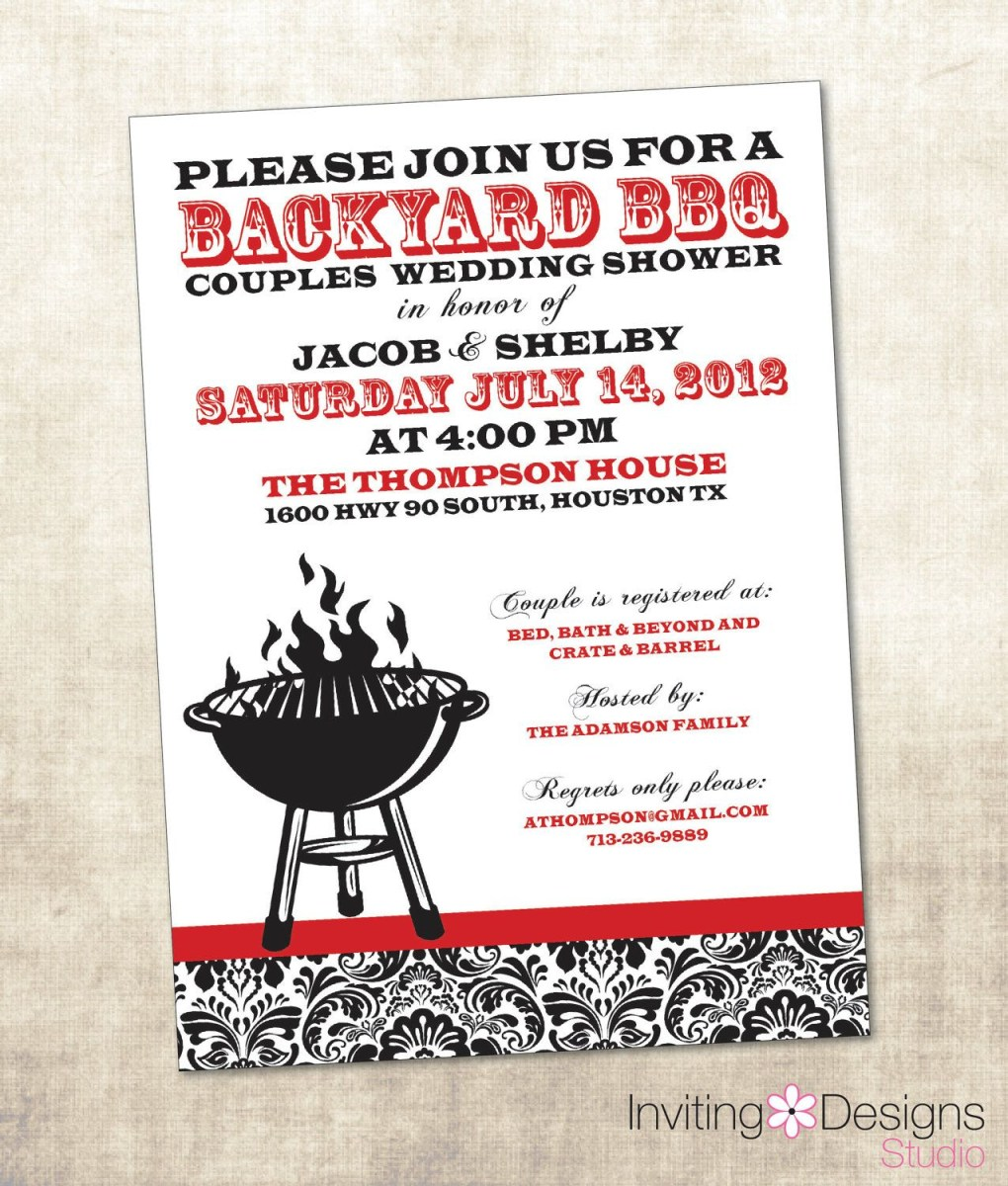 Coed Wedding Shower Invitations Bbq Wedding Shower Invitation Couples Shower Invitation Printable