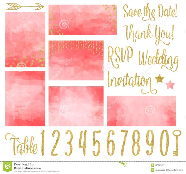 Coral Wedding Invitations Coral Wedding Invitation Watercolor Set Stock Illustration