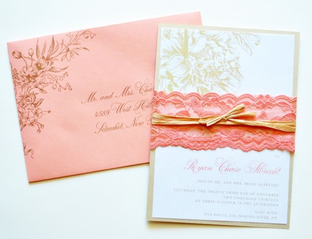 Coral Wedding Invitations Coral Wedding Invitations Coral Lace Wedding Whimsybdesigns