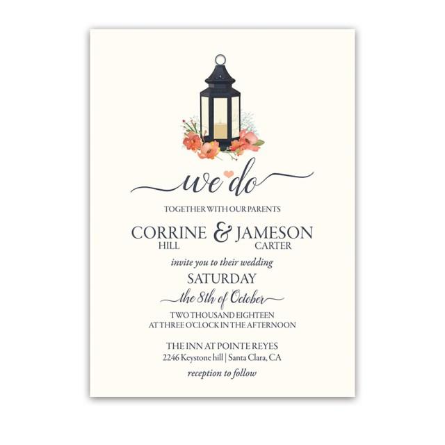 Coral Wedding Invitations Navy Blue Lantern Wedding Invitations Coral Flowers Metal Lantern Design
