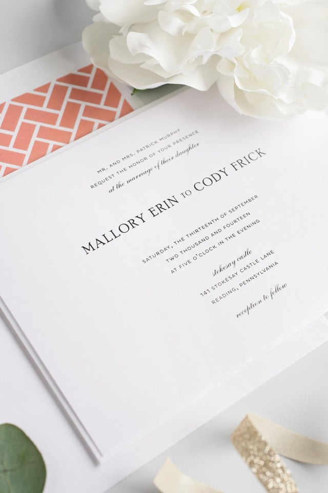 Coral Wedding Invitations Simple And Elegant Wedding Invitations In Coral Wedding Invitations