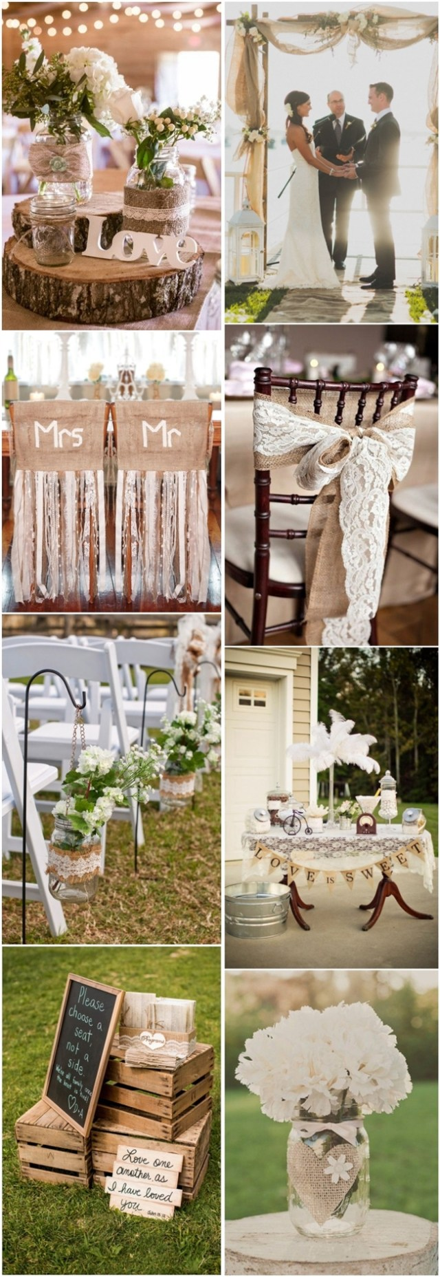 Country Chic Wedding Decor 45 Chic Rustic Burlap Lace Wedding Ideas And Inspiration Tulle