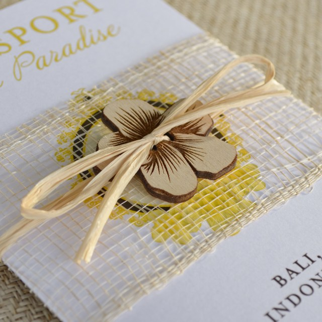 Custom Wedding Invitation Indonesian Hibiscus Flower Passport Wedding Invitation Bali