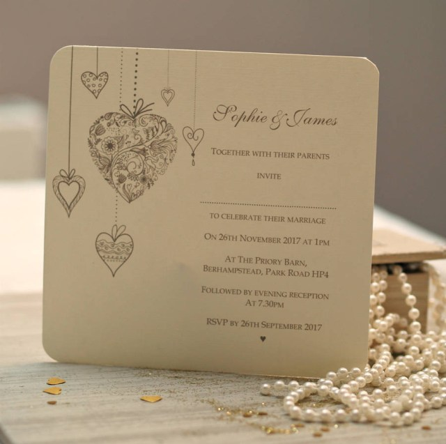 Custom Wedding Invitation Personalised Hearts Wedding Invitations Beautiful Day