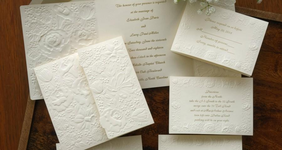 Custom Wedding Invitation Printing Floral Embossed Wedding Invitation Set Raised Print Wedding Invite