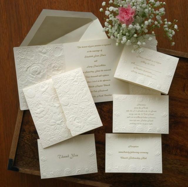 Custom Wedding Invitation Printing Floral Embossed Wedding Invitation Set Raised Print Wedding Invite