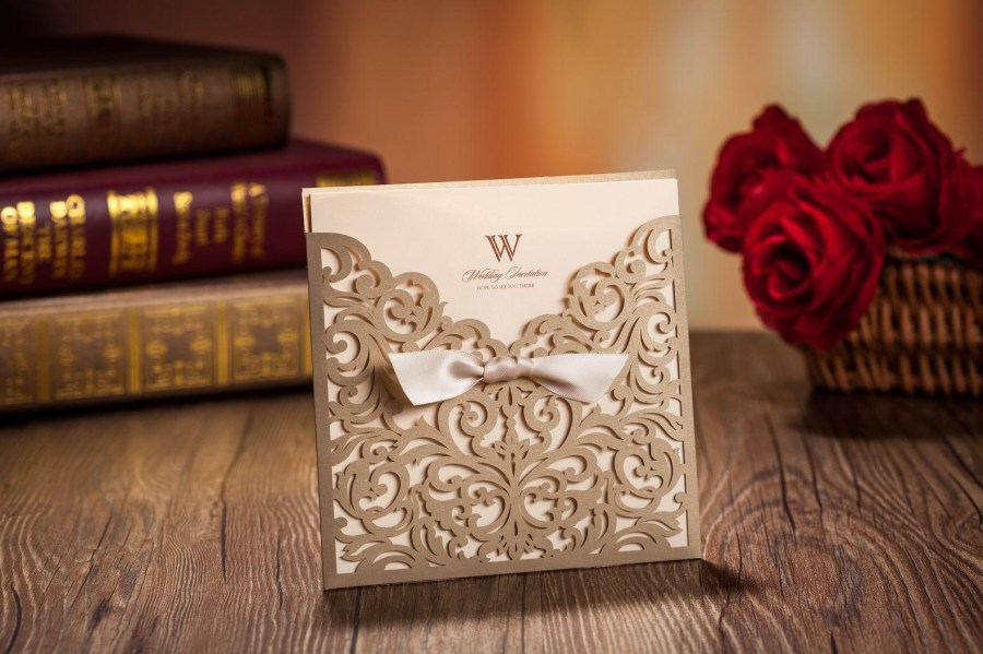 Custom Wedding Invitation Printing Laser Cut Wedding Invitations Cards Gold Ribbon Hollow Wedding Card