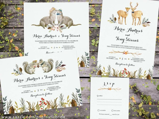 Deer Wedding Invitations Animal Wedding Invitations Woodland Wedding Invites Deer Wedding