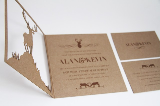 Deer Wedding Invitations Classic Wedding Invitations Laser Cut Deer Wedding Invitation