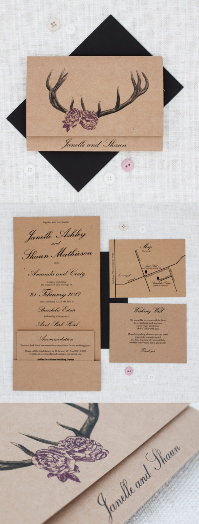 Deer Wedding Invitations Deer Antlers With Roses Rustic Wedding Invitation Be My Guest