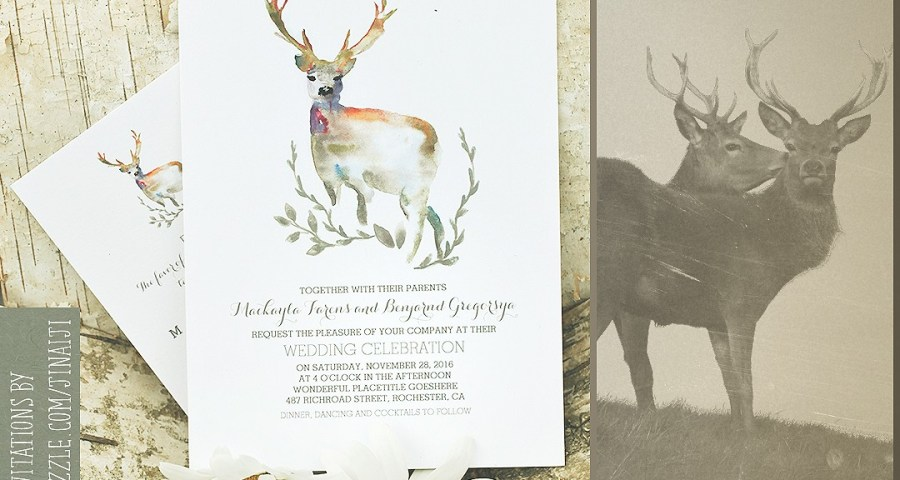 Deer Wedding Invitations Deer Wedding Invitation Romantic Watercolors Need Wedding Idea