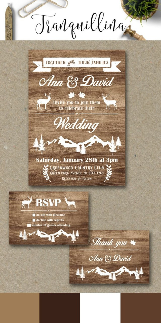 Deer Wedding Invitations Rustic Wedding Invitation Printable Fall Winter Wedding Invitation