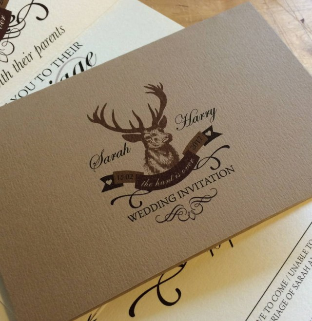 Deer Wedding Invitations Stag The Hunt Is Over Wedding Stationery The Wild Partridge