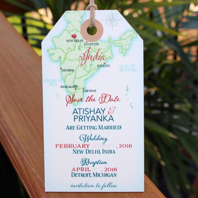 Destination Wedding Invitation Wedding Invitation India Map Save The Date Luggage Tag Magnet
