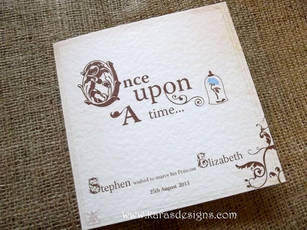 Disney Themed Wedding Invitations Folded Wedding Invites Once Upon A Time Fairytale Themed Wedding