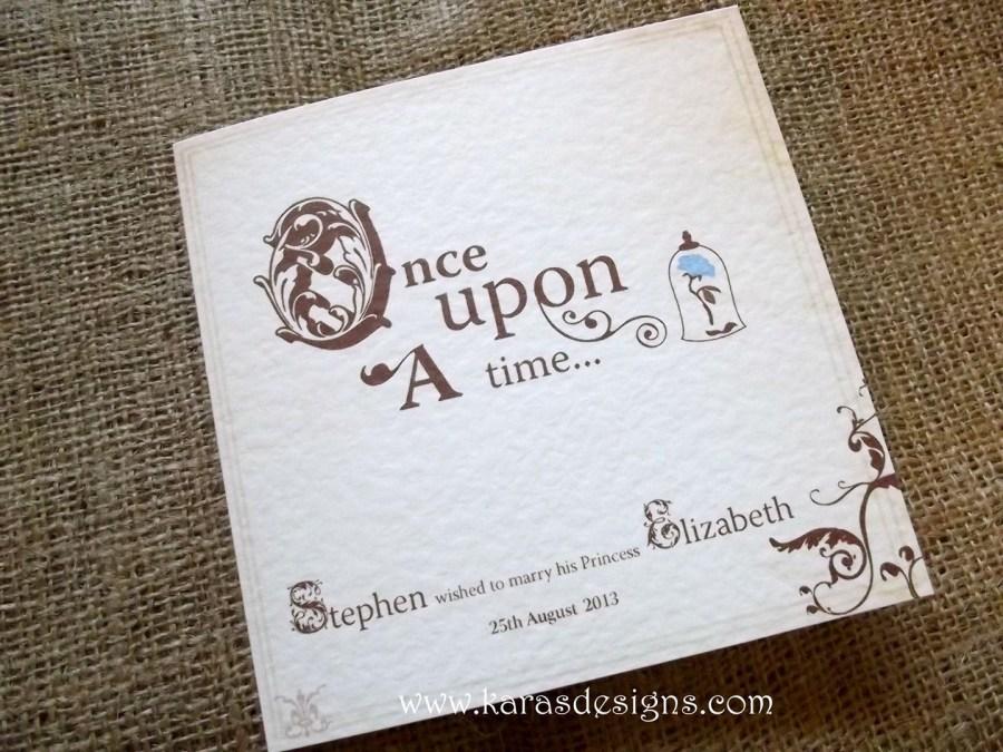 Disney Themed Wedding Invitations Folded Wedding Invites Once Upon A Time Fairytale Themed Wedding