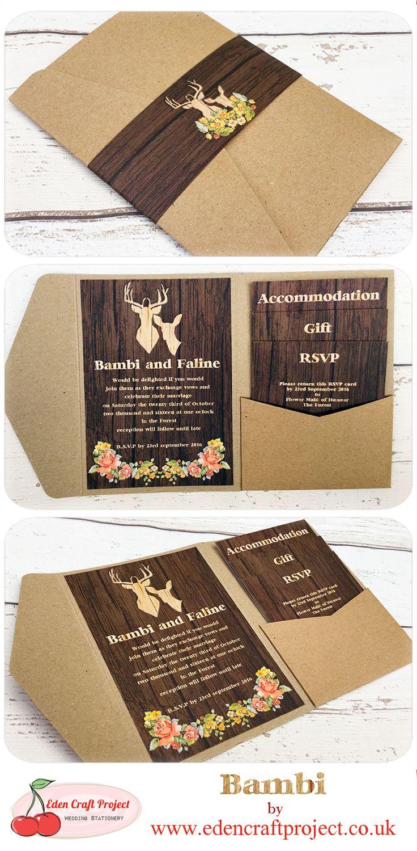 Disney Themed Wedding Invitations The Disney Inspired Bambi Pocketfold Wedding Invitation Perfect For
