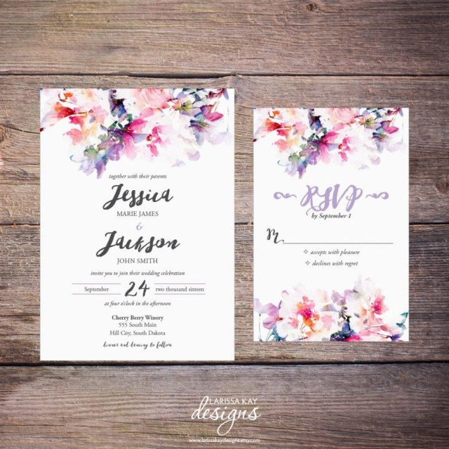 Do It Yourself Wedding Invitations Printable Watercolor Floral Wedding Invitation Suite Spring Flowers