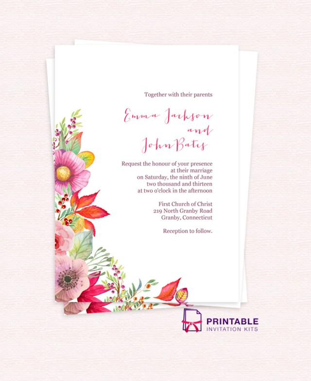 Free Wedding Invite Templates Autumn Blooms Wedding Invitation Wedding Invitation Templates