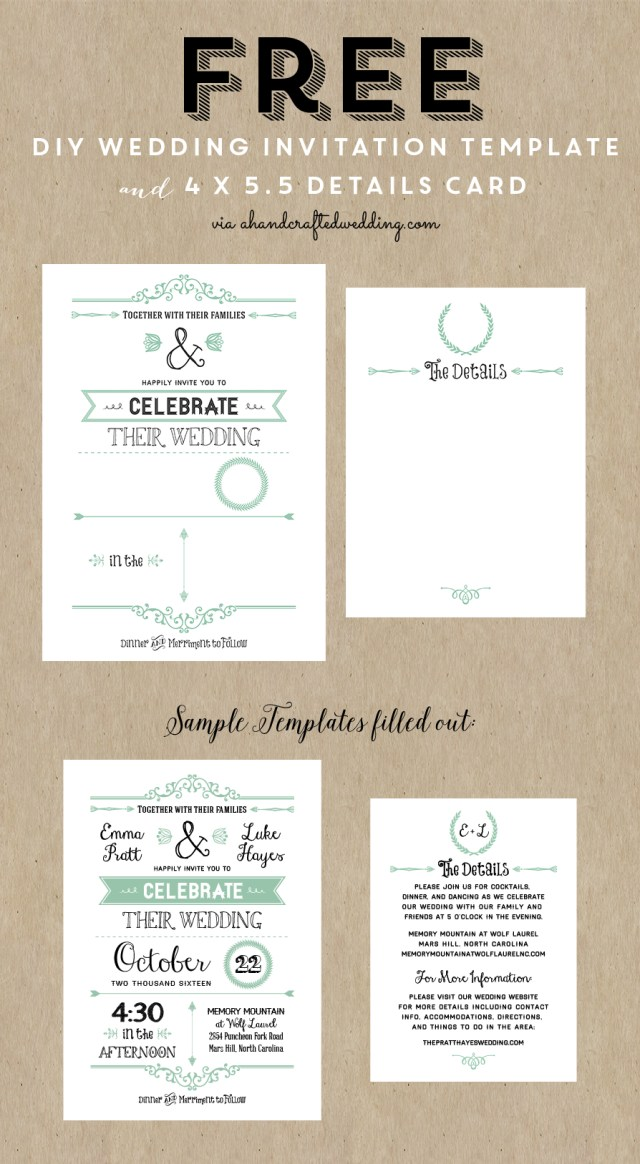 Free Wedding Invite Templates Free Printable Wedding Invitation Template Wedding Pinterest