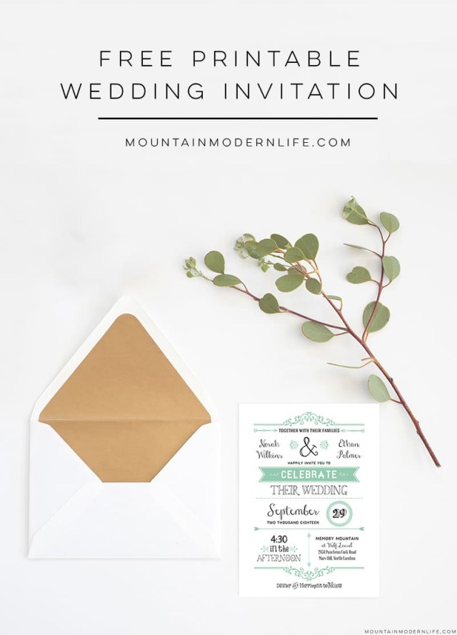 Free Wedding Invite Templates Free Wedding Invitation Template Mountainmodernlife