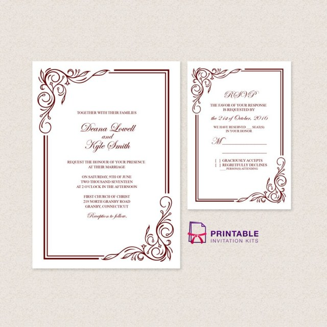 Free Wedding Invite Templates Wedding Invitation Templates Free Pdfs With Easy To Edit Text