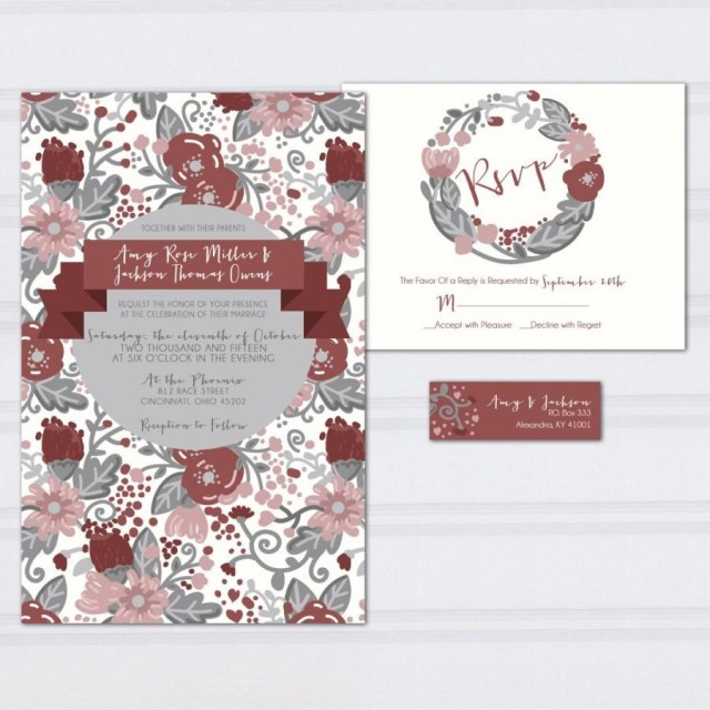 Hipster Wedding Invitations Floral Pattern Wedding Invitations Marcala Wine Wedding Invites