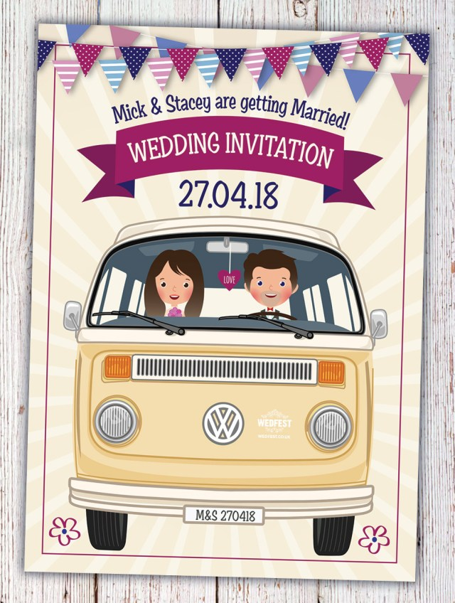 Hipster Wedding Invitations Vw Campervan Of Love Wedding Invitations Wedfest
