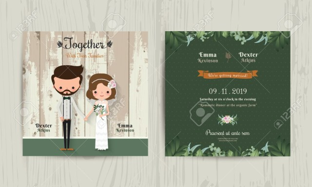 Hipster Wedding Invitations Wedding Invitation Card Cartoon Hipster Bride And Groom On Wood