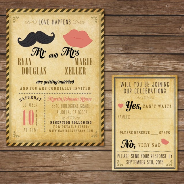 Hipster Wedding Invitations Wedding Invitation Template Hipster Luxury Hipster Weddinghipster