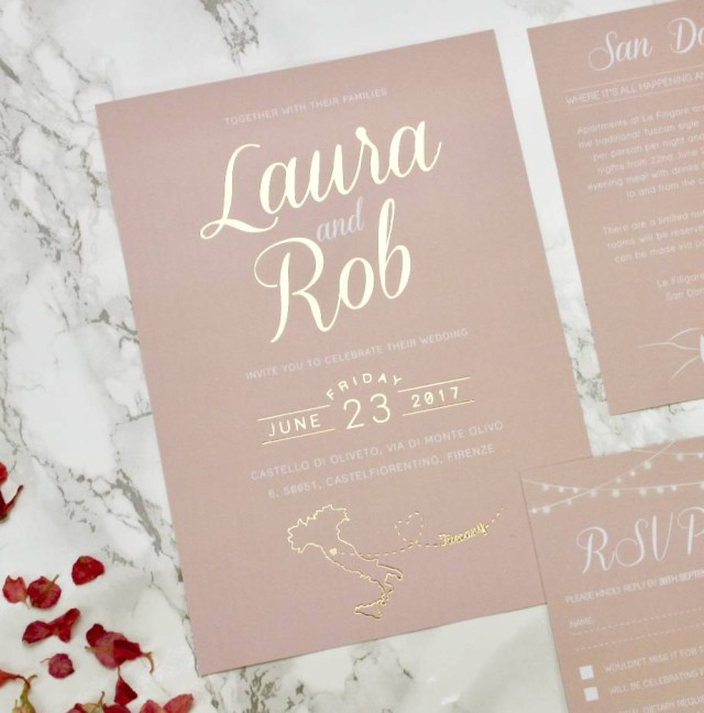 His And Hers Wedding Invitations Luscious Type Blush And Gold Wedding Invites Rodo Creative