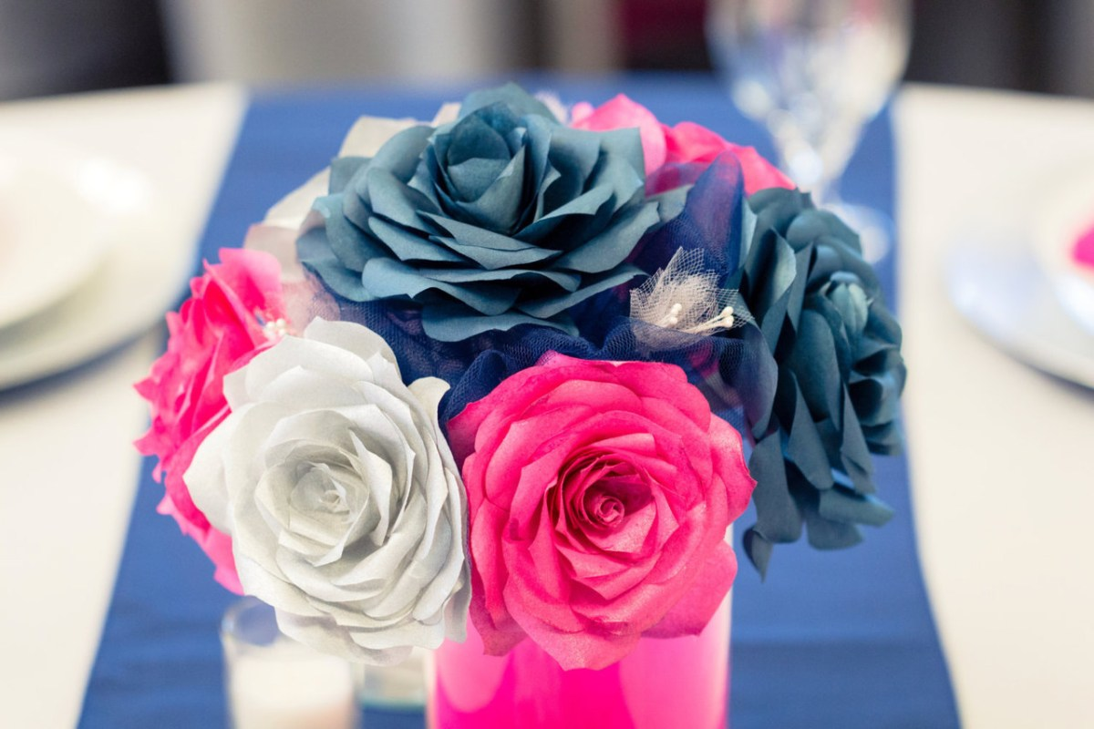 Hot Pink And Silver Wedding Decorations Navy Blue Hot Pink And Silver Wedding Table Centerpieces Handmade