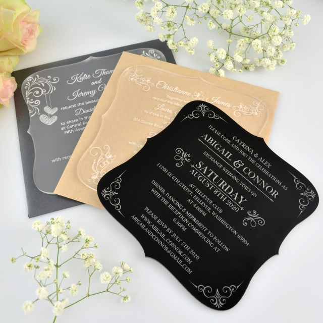 Images Of Wedding Invitations Engraved Royal Style Acrylic Wedding Invitation Personalized Favors