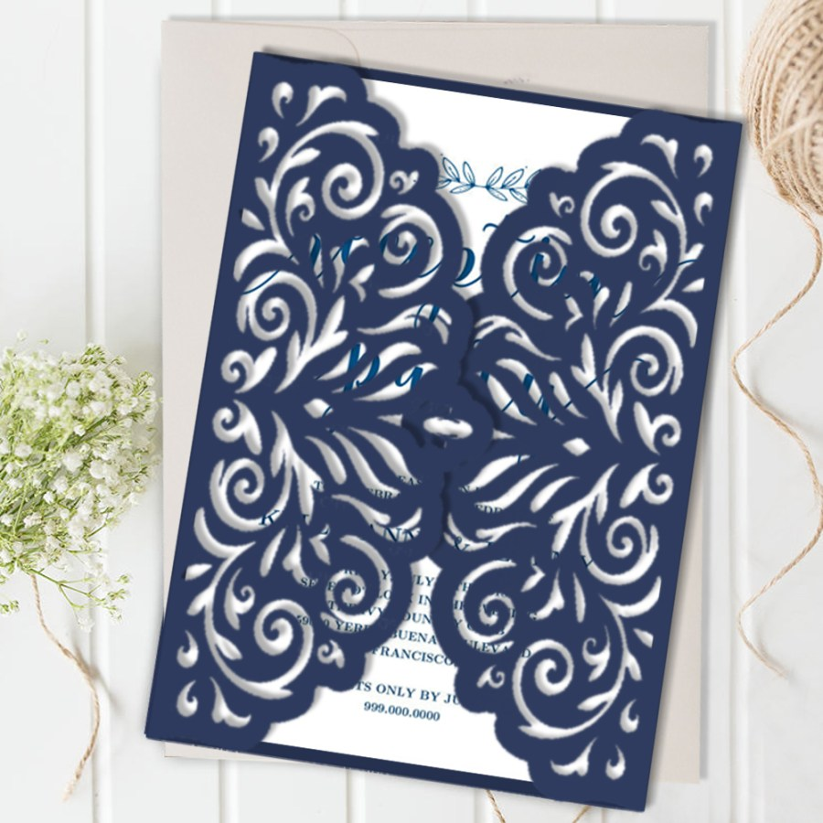 Laser Cut Wedding Invitations Diy Navy Blue Wedding Invitation Diy Creative Invitations Laser