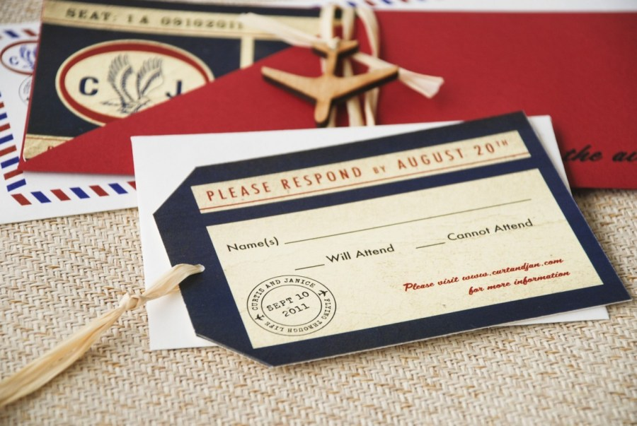 Mailing Wedding Invitations Vintage Air Mail Boarding Pass Wedding Invitation Love Is In The Air