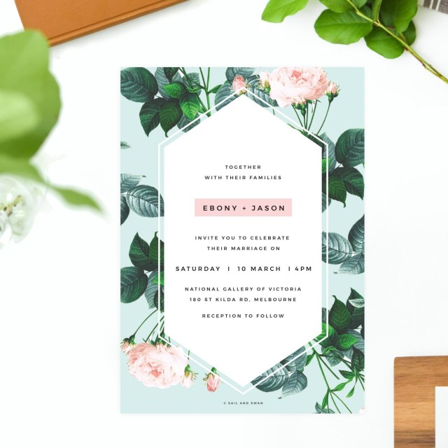 Mint Green Wedding Invitations Floral Rose Mint Green Pastel Wedding Invitations Modern Invites