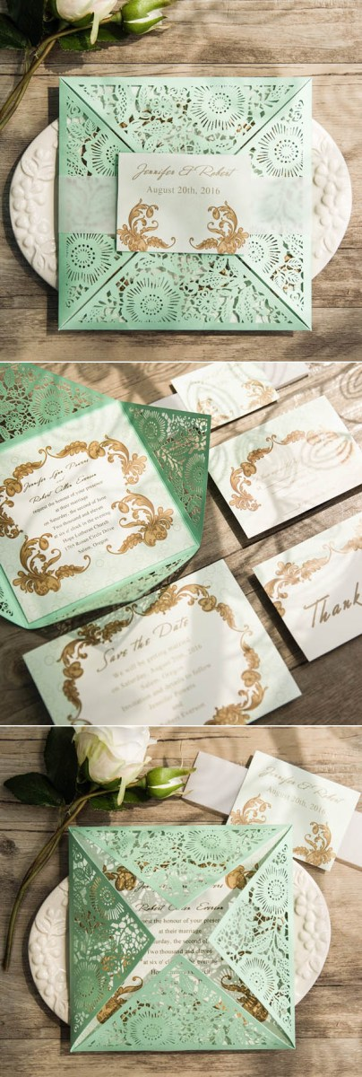 Mint Green Wedding Invitations Gorgeous Mint Invitation Inspired Wedding Color Combo Ideas