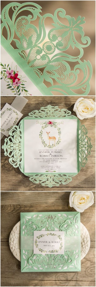 Mint Green Wedding Invitations Mint Green And Pink Boho Themed Laser Cut Wedding Invitations With