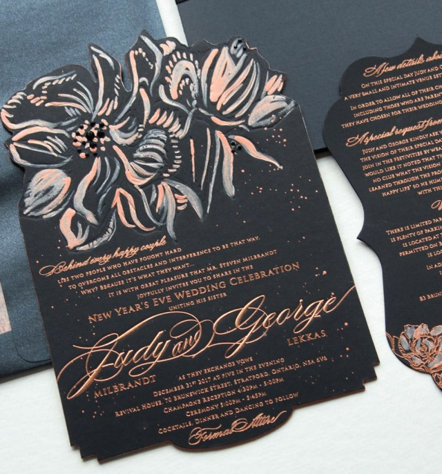 New Years Eve Wedding Invitations Black And Rose Gold Glam New Years Eve Wedding Invitationsmomental