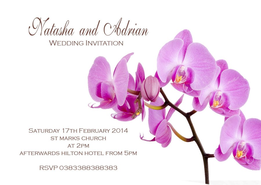 Orchid Wedding Invitations Orchid Flower Floral Wedding Invitations H0093